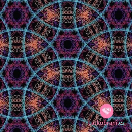 Teplákovina potisk zářivé vrstvené mandaly na černé