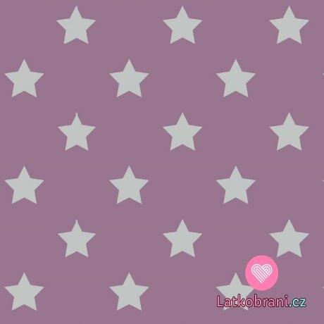 Úplet potisk drobné bílé hvězdičky na starorůžové