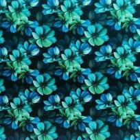 Teplákovina potisk noční květy na černé
