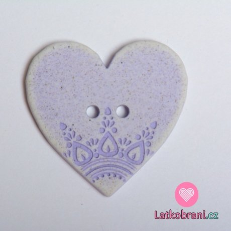 Knoflík srdíčko fialové s ornamenty
