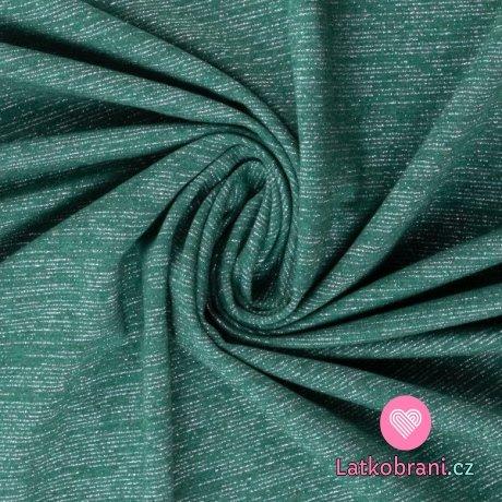 Teplákovina počesaná zelená se třpytivými nitkami