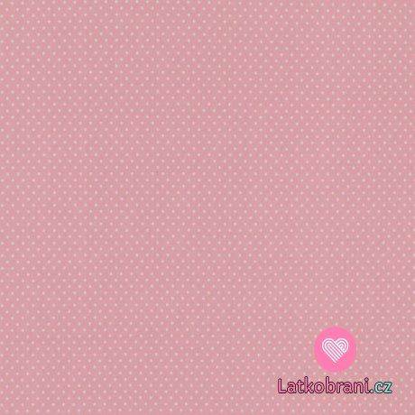 Úplet potisk malé bílé puntíky na světle růžové