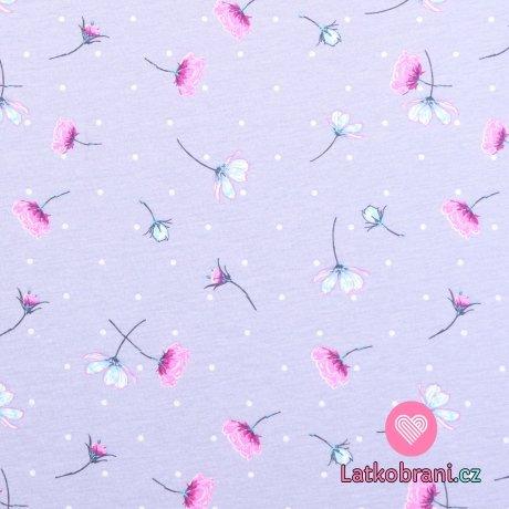 Bavlněný úplet rozházené kytičky a bílé puntíky na šedé