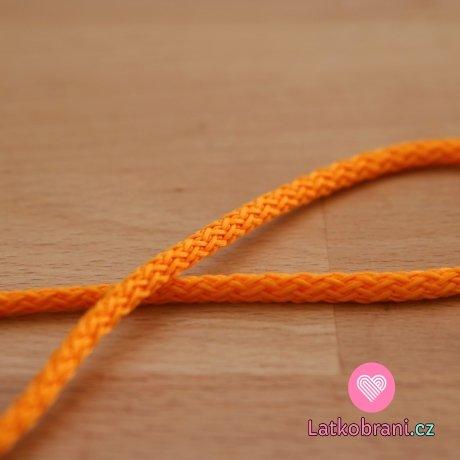 Šňůra kulatá oděvní PES 4 mm oranžová pomerančová