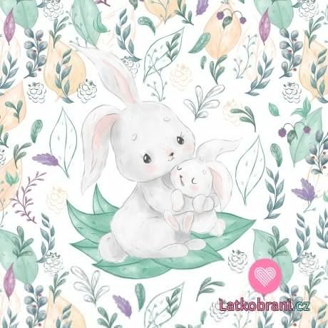 Bavlněný panel králičí mláďátko s maminkou