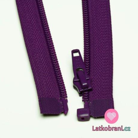Zip spirálový dělitelný fialový 70cm