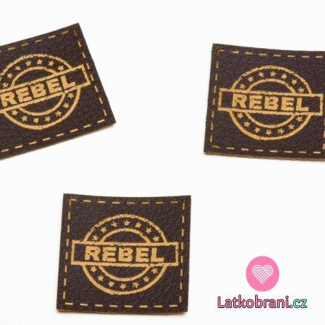 """Štítek na oblečení """"rebel"""", koženkový, imitace tmavé kůže"""