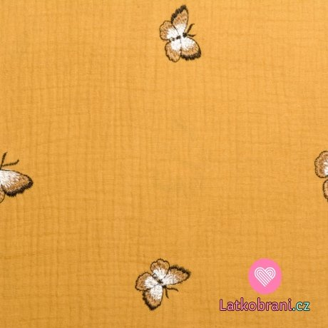 Dvojitá gázovina / mušelín okrový s výšivkou motýla