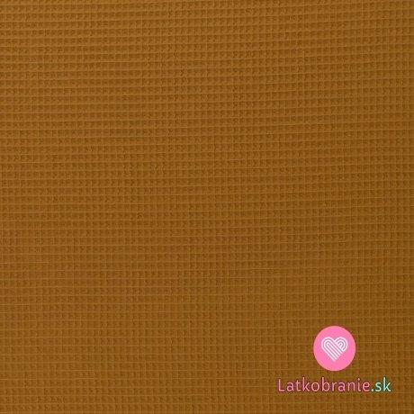 Bavlněná vaflovina jednobarevná okrová tmavší