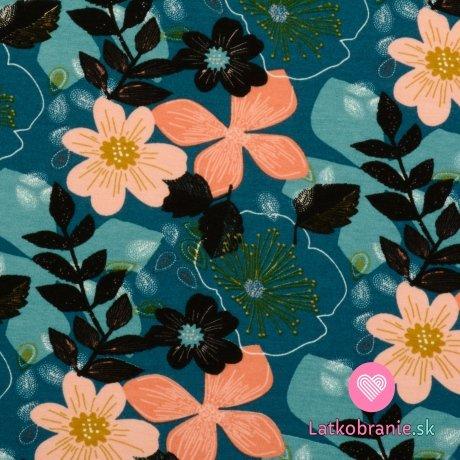 Teplákovina počesaná potisk barevné květiny na petrolejově zelené