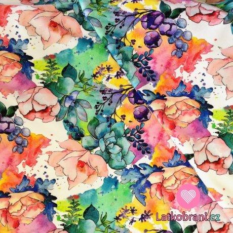 Teplákovina s barevnými květy, duhová zahrádka