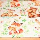 Teplákovina lesní zvířátka liška, medvěd na smetanovo-béžové