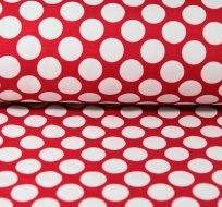 Softshell puntíky bílé na červené 2,2cm s fleecem