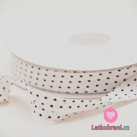 Šikmý proužek / lemovací pruženka bavlna puntík bílá