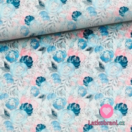 Teplákovina ledové tři květy modré