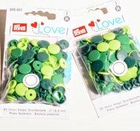 Patentky plastové Color snaps PRYM LOVE zelený mix