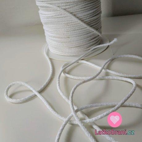 Šňůra kulatá oděvní PES 3 mm bílá