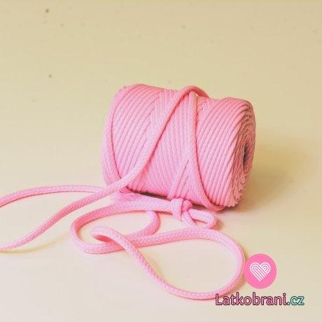 Šňůra kulatá oděvní PES 7 mm baby růžová