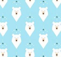Teplákovina lední medvěd hlava na modré (světlejší)- ZBYTEK