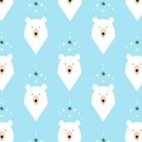 Teplákovina lední medvěd hlava na modré (světlejší)