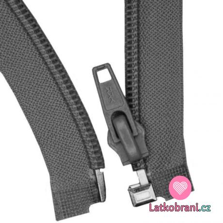 Zip spirálový dělitelný tmavě šedý 65 cm