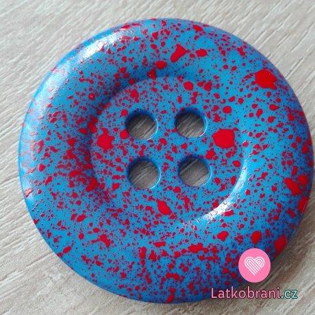 Knoflík mega velký modrý s červenými cákanci