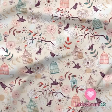 Bavlněné plátno ptáčky v kleci mezi kvítky a srdíčky