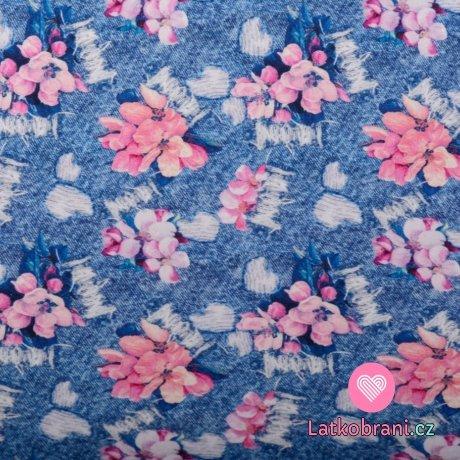 Teplákovina potisk růžové květy na potrhané džínovině