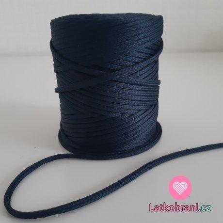 Šňůra oděvní kulatá  PES 4 mm temně modrá