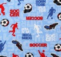 Úplet fotbalista s kopacím míčem na modrém podkladu -DOPRODEJ