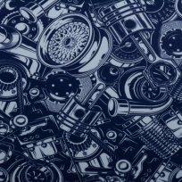 Teplákovina potisk náhradní automobilové díly na granátově modré