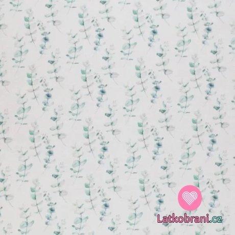 Úplet potisk mini eukalyptus na bílé