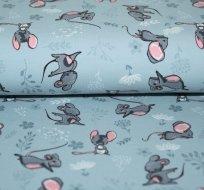 Úplet myšky na jemné šedo-modré