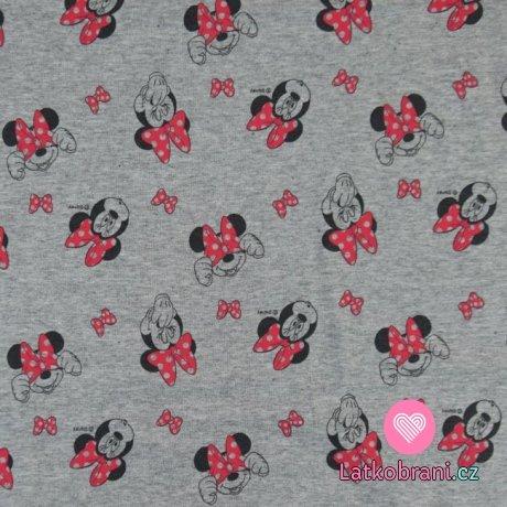 Teplákovina potisk hlavičky Minnie a růžové mašličky na šedém melé