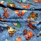 Teplákovina lesní zvířátka na modré s kvítky