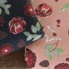 Teplákovina s příměsí modalu potisk čajové růže mezi šiškami a větvičkami