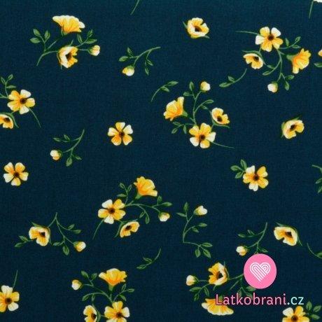 Viskóza potisk drobné žluté květiny na námořnicky modré
