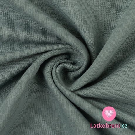 Teplákovina jednobarevná zaprášená smaragdová