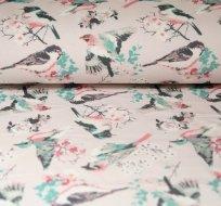 Teplákovina létající ptáček s větvičkami na růžové -ZBYTEK