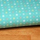 Úplet hvězdičky bílé zelené s puntíky na pastelově modré - ZBYTEK