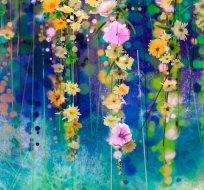 Panel závěsné květiny na modré