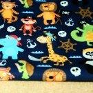 Softshell zvířátka piráti na tmavě modré s fleecem