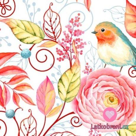Teplákovina ptáček červenka s růžemi