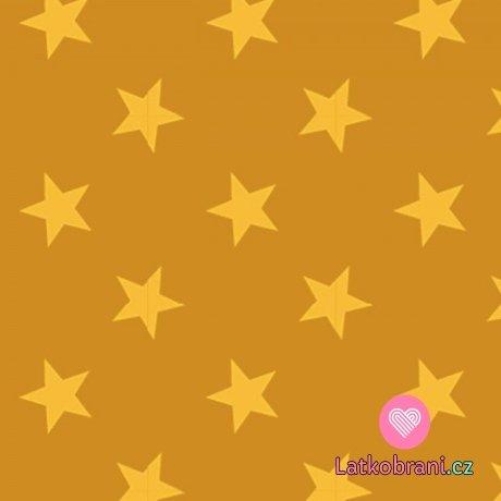 Teplákovina potisk světle hořčicové hvězdy na syté hořčicové