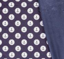 Softshell zimní potisk modré kotvičky v bílém kruhu na tmavě modré