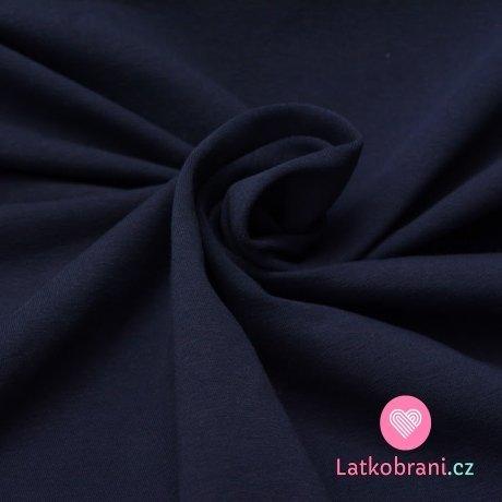 Jednobarevný úplet tmavě modrá navy 220 g, šíře 180 cm