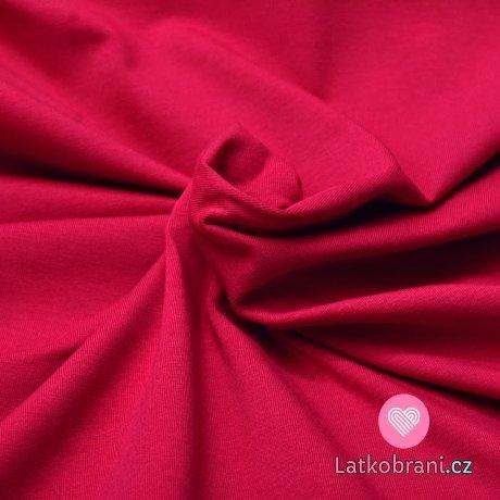 Jednobarevný úplet zaprášená malinová sytá 220 g, šíře 180 cm