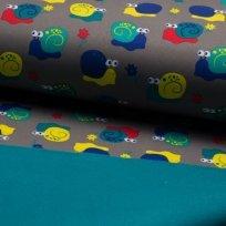 Softshell barevní šneci na šedé s fleecem