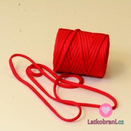 Šňůra kulatá oděvní PES 7 mm červená