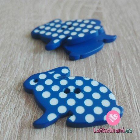 Knoflík zajíček tmavě modrý s bílými puntíky